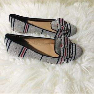 J.Crew Cleo Stripe Canvas Loafers With Bow.